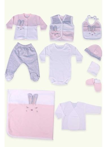 Breeze Kız Bebek Hastane Çıkışı 10 Lu Uyuyan Tavşan Desenli Somon (0-3 Ay) Somon